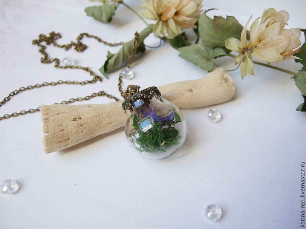 Transparent Pendant Sphere with Moss and Real Flowers rustic, Pendants, Taganrog,  Фото №1