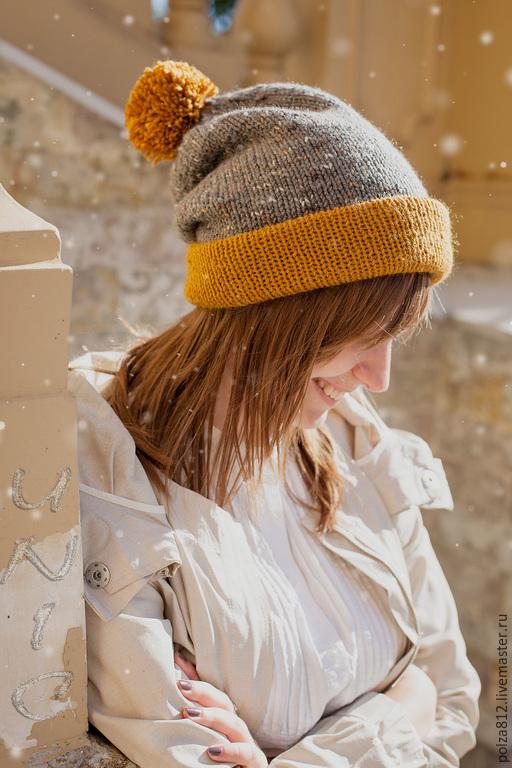шапка, шапка вязаная женская купить, шапка бини, шапка двойная вязаная, шапка с помпоном, модная шапка, шапка женская, шапка зимняя, шапка на осень, горчичный, серый, помпон, шапка чулок