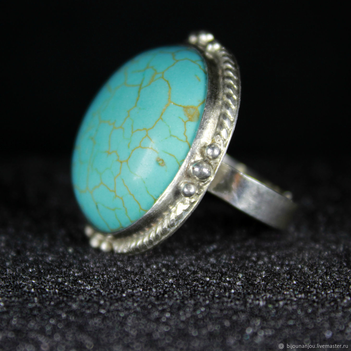 925 sterling silver amine ring with natural turquoise, Rings, Yerevan,  Фото №1