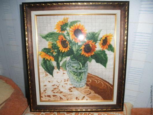 Картины цветов ручной работы. Ярмарка Мастеров - ручная работа. Купить Подсолнухи в вазе. Handmade. Подарок на любой случай