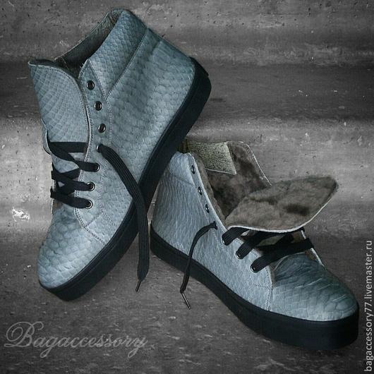 Обувь ручной работы. Ярмарка Мастеров - ручная работа. Купить Кеды на меху из натуральной кожи питона. Handmade. Серый