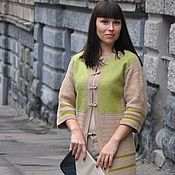Одежда handmade. Livemaster - original item Olive knit-felted coat made of Italian wool