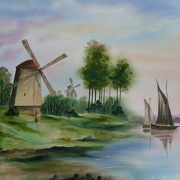 Картины и панно ручной работы. Ярмарка Мастеров - ручная работа Картина пейзаж акварель. Голландия 1. Handmade.