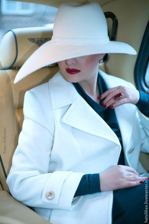 """Шляпы ручной работы. Ярмарка Мастеров - ручная работа. Купить Велюровая шляпа """"Аннет"""" белая. Handmade. Белый, для женщины"""