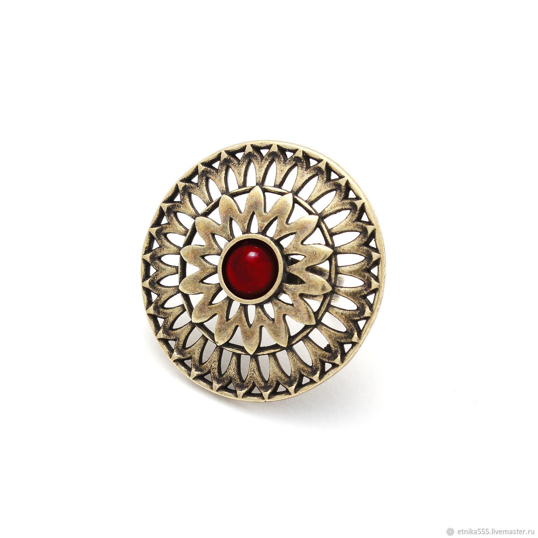 Ring Salicicola bronze, ruby cabochon, Rings, Belaya Cerkov,  Фото №1