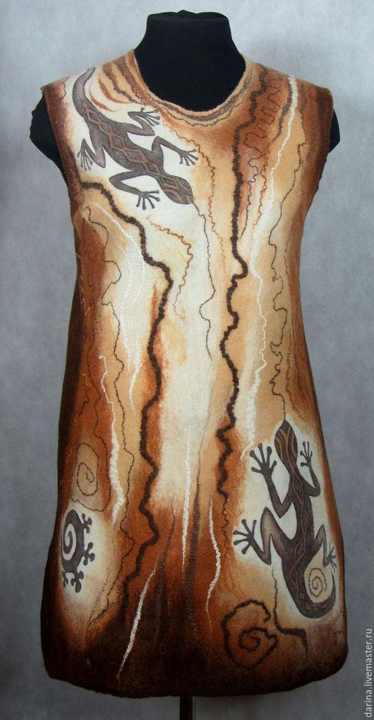 """Платья ручной работы. Ярмарка Мастеров - ручная работа. Купить туника валяная """"Мудрая саламандра"""". Handmade. Коричневый, платье валяное"""