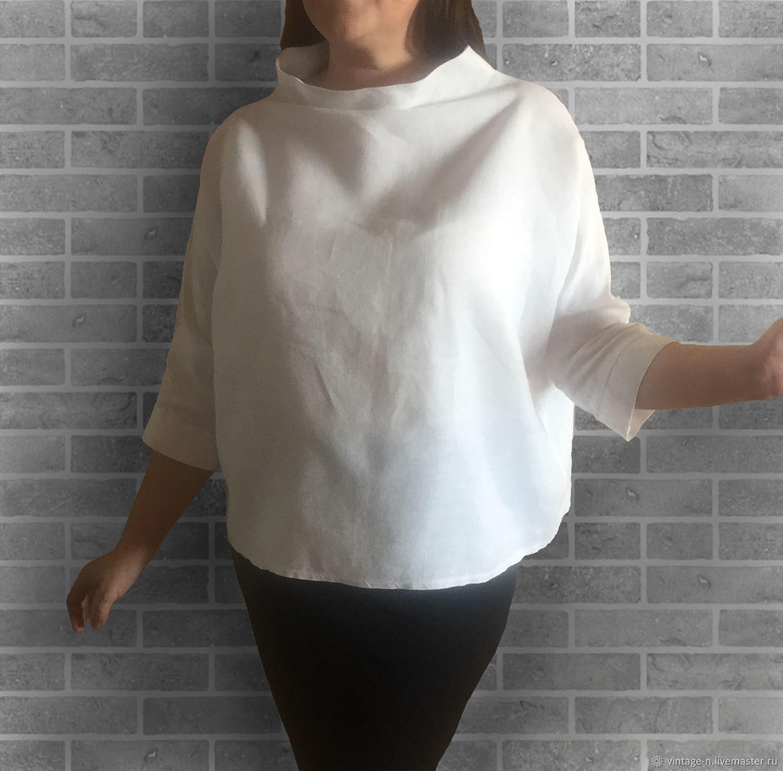 98c0aecaf97 Блузки ручной работы. Ярмарка Мастеров - ручная работа. Купить Блуза Лен  белая с воротом ...