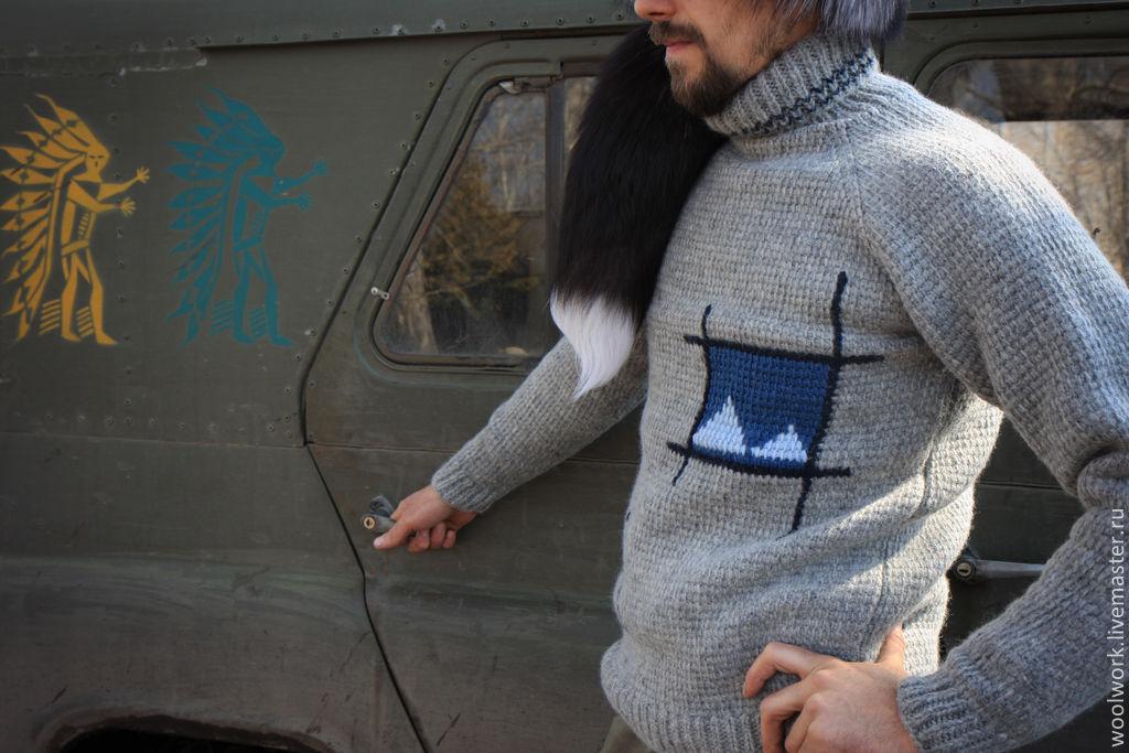 Мужской свитер Индейские мотивы  ручной работы серый свитер свитер с орнаментом подарок для мужчины  для женщины из натуральной шерсти  для отдыха  воротник – гольф  подарок на любой случай   WW