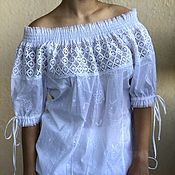 Одежда handmade. Livemaster - original item Blouse from sewing and lace