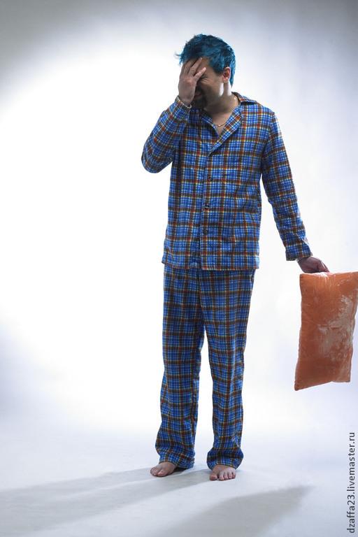 Для мужчин, ручной работы. Ярмарка Мастеров - ручная работа. Купить пижама мужская фланелевая. Handmade. Синий, в клеточку, пижама