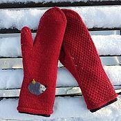 Аксессуары handmade. Livemaster - original item Knitted double hedgehog mittens. Handmade.