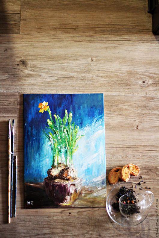 Картины цветов ручной работы. Ярмарка Мастеров - ручная работа. Купить Одинокий нарцисс. Handmade. Голубой, картина с цветами