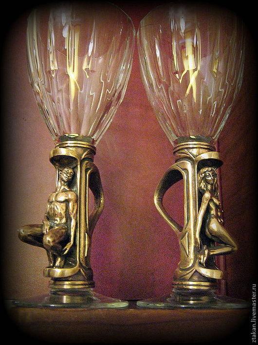 """Бокалы, стаканы ручной работы. Ярмарка Мастеров - ручная работа. Купить Бокалы на бронзовой вставке """"Продолжение"""". Handmade. Бронза"""