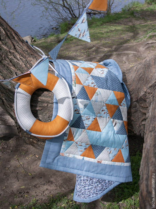 """Пледы и одеяла ручной работы. Ярмарка Мастеров - ручная работа. Купить Лоскутное одеяло """"Морское"""". Handmade. Лоскутное одеяло"""