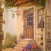 Дизайн и реклама ручной работы. Ярмарка Мастеров - ручная работа Роспись двери Прованский дворик. Handmade.