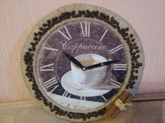 """Часы для дома ручной работы. Ярмарка Мастеров - ручная работа. Купить Часы настенные """"Кофе с корицей"""". Handmade. Коричневый"""