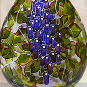 Посуда handmade. Livemaster - original item Bottle Grapes stained glass painting. Handmade.