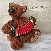 Мишки Тедди ручной работы. Ярмарка Мастеров - ручная работа Мишки Тедди: Медведь Гриша с гармошкой. Handmade.