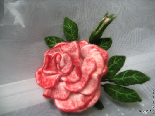 """Броши ручной работы. Ярмарка Мастеров - ручная работа. Купить Валяная брошь"""" Роза"""". Handmade. Розовый, Сухое валяние"""