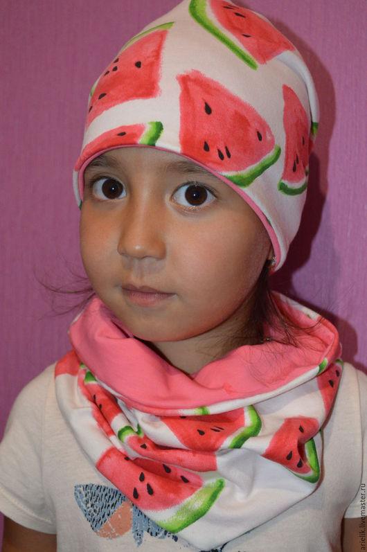 Шапки и шарфы ручной работы. Ярмарка Мастеров - ручная работа. Купить Шапка и снуд из трикотажа. Handmade. Комбинированный, шапка для девочки