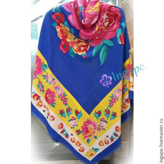 """Шитье ручной работы. Ярмарка Мастеров - ручная работа. Купить Платок Hermes """"Цветочная поляна"""" 001. Handmade. Голубой"""