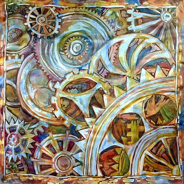 Аксессуары ручной работы. Ярмарка Мастеров - ручная работа Батик, шёлковый платок «Хаос (шетеренки)». Handmade.