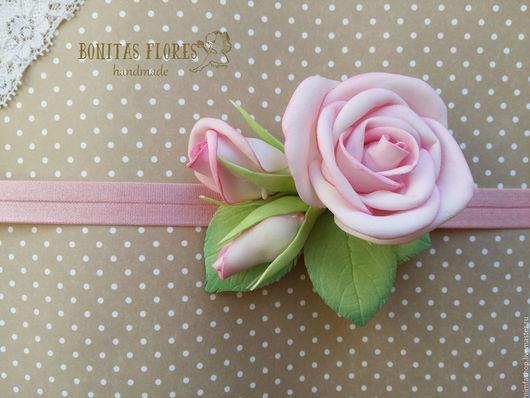 """Повязки ручной работы. Ярмарка Мастеров - ручная работа. Купить Повязка """"Нежность"""". Handmade. Бледно-розовый, Три розы"""