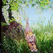 """Картины и панно ручной работы. Ярмарка Мастеров - ручная работа Картина маслом """"Цветет акация"""". Handmade."""