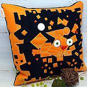 Для дома и интерьера handmade. Livemaster - original item Suprematist cat Vasya Lozhkina, decorative pillow with applique. Handmade.