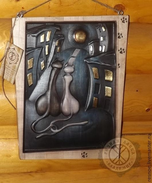 Животные ручной работы. Ярмарка Мастеров - ручная работа. Купить Резное дерево_Свидание. Handmade. Картина в подарок, коты, грунт