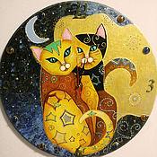 """Для дома и интерьера ручной работы. Ярмарка Мастеров - ручная работа Часы """"Кошки"""". Handmade."""