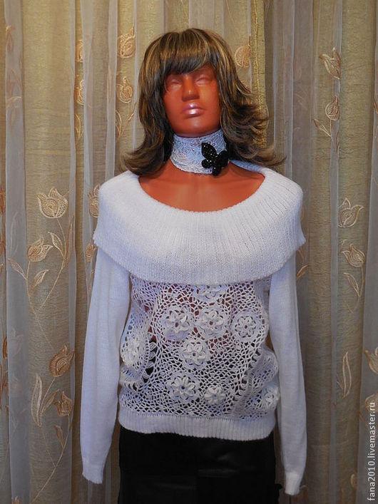 Кофты и свитера ручной работы. Ярмарка Мастеров - ручная работа. Купить Вязанный белый джемпер из мохера с объёмными цветами  Иберис. Handmade.