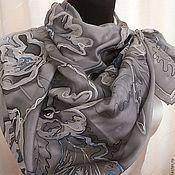 Аксессуары handmade. Livemaster - original item Handkerchief Grey silk flower. Handmade.