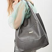 Сумки и аксессуары handmade. Livemaster - original item Soft grey bag - Bag Pack - large size leather. Handmade.
