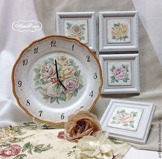 Часы для дома ручной работы. Ярмарка Мастеров - ручная работа. Купить Роспись фарфора Часы Старые розы. Handmade. Часы