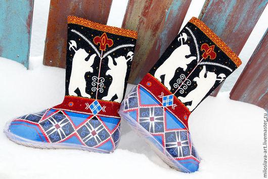 Обувь ручной работы. Ярмарка Мастеров - ручная работа. Купить Мужские валенки. Handmade. Валенки с галошами, подарок на 23 февраля