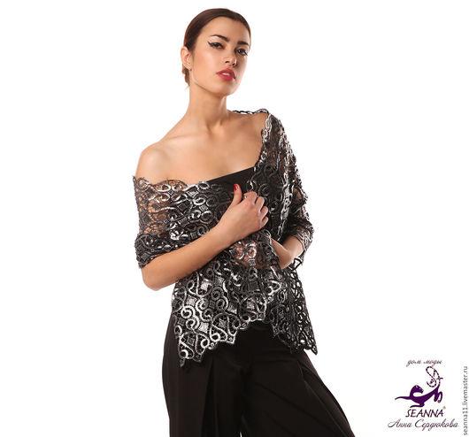 Роскошный шарф-накидка из вышитого фактурного черно-серебряного кружева, прорезанного вручную  `Серебряно-кружевной`. Размер - 50х140 см. Цена - 14500 руб.