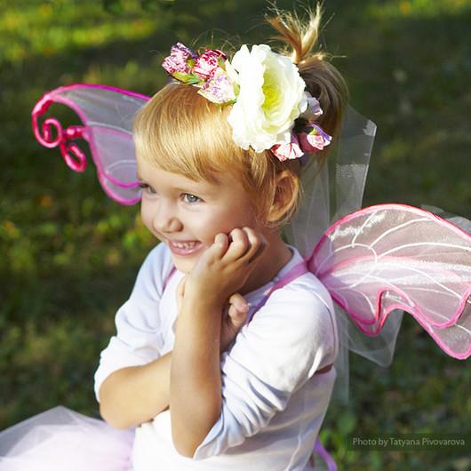 """Детские карнавальные костюмы ручной работы. Ярмарка Мастеров - ручная работа. Купить """"Розовая фея"""" карнавальный костюм: юбка-пачка, крылья, ободо. Handmade."""