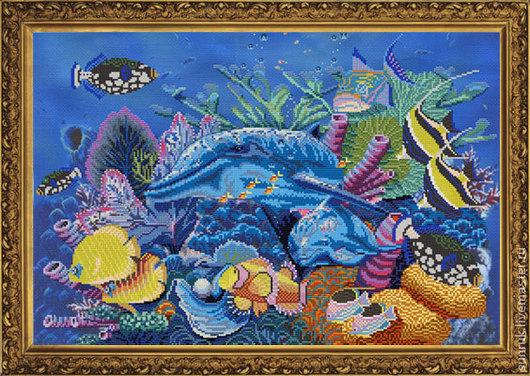 """Вышивка ручной работы. Ярмарка Мастеров - ручная работа. Купить Набор для вышивания """"Подводный мир"""". Handmade. Набор для вышивки"""
