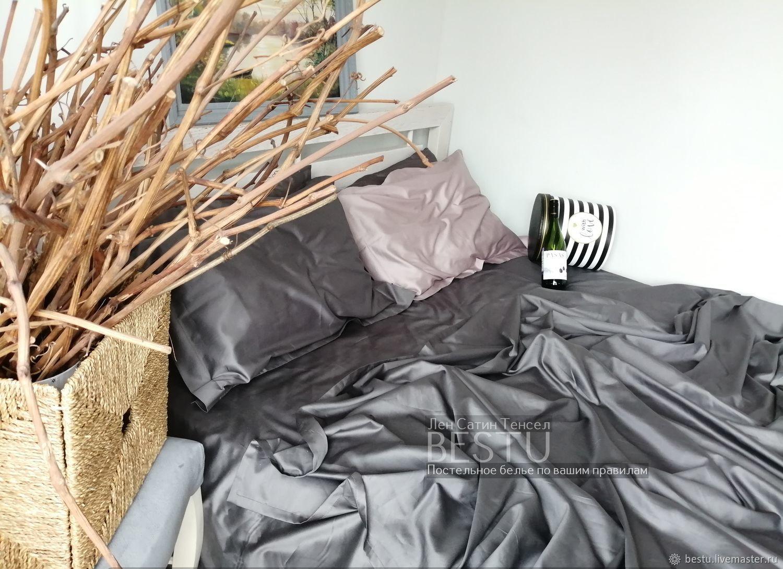 """Постельное белье из сатина люкс """"Графит"""" евро, 2сп, Комплекты постельного белья, Тольятти,  Фото №1"""