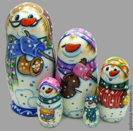 Новый год 2017 ручной работы. Ярмарка Мастеров - ручная работа. Купить Снеговик - матрёшка к Новому году !!!. Handmade. Белый