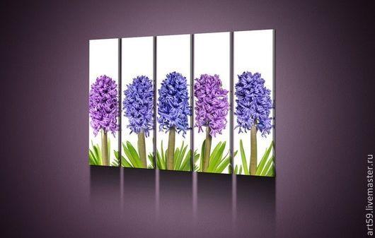 Картины цветов ручной работы. Ярмарка Мастеров - ручная работа. Купить Цветы в лилово-синей гамме. Handmade. Триптих
