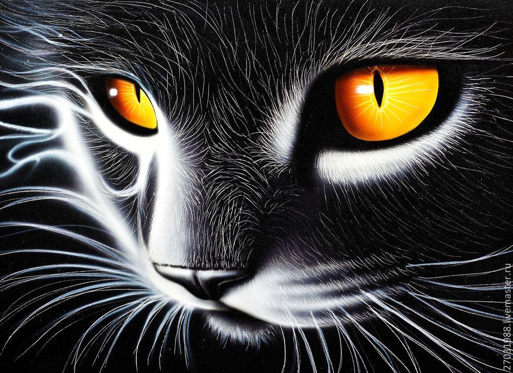 Животные ручной работы. Ярмарка Мастеров - ручная работа. Купить Картина - Кот с желтыми глазами. Светится в темноте. Handmade. Котенок