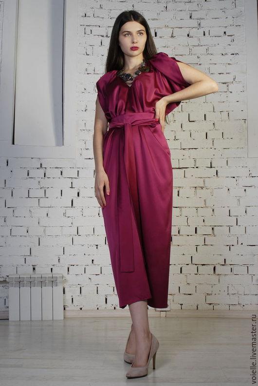 Платье из атласа платье шёлковое платье для беременных платье беременным платье свободного кроя больших размеров платье для нестандартной фигуры платье прямое платье миди повседневное платье