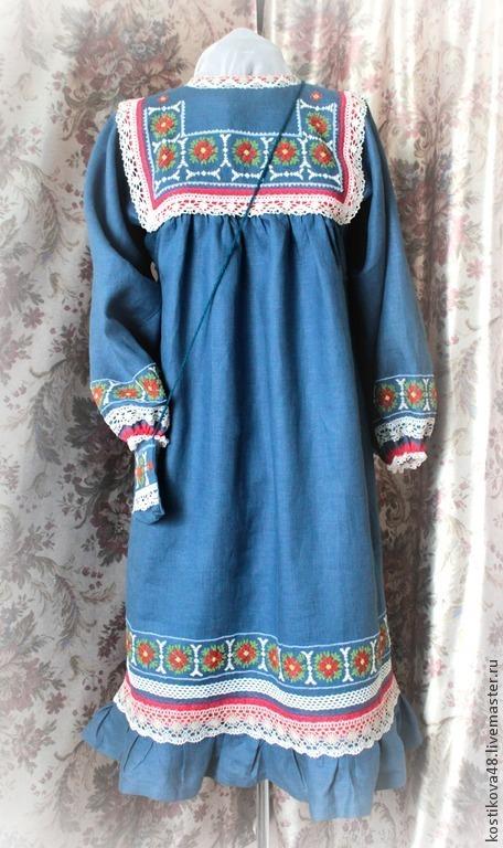 Одежда ручной работы. Ярмарка Мастеров - ручная работа. Купить Платье- русское- Кострома - Кострома. Handmade. Тёмно-синий