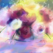 Картины и панно ручной работы. Ярмарка Мастеров - ручная работа Розы №5 Цифровая живопись. Натюрморт с цветами. Handmade.