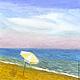 Пейзаж ручной работы. Ярмарка Мастеров - ручная работа. Купить Картина акварелью Вечер у Моря, морской пейзаж голубой акварель. Handmade.