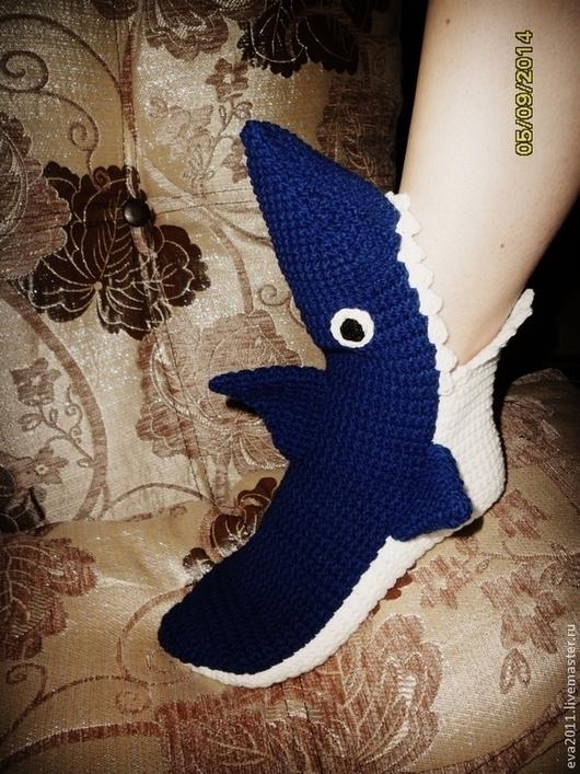"""Носки, Чулки ручной работы. Ярмарка Мастеров - ручная работа. Купить Носки """"Акулы"""". Handmade. Тёмно-синий, носки, рыба"""