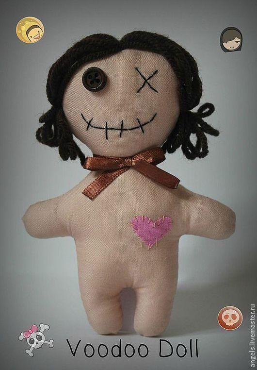 Человечки ручной работы. Ярмарка Мастеров - ручная работа. Купить Кукла Вуду. Handmade. Коричневый, кукла текстильная, пуговицы