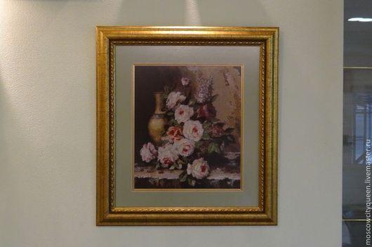 Картины цветов ручной работы. Ярмарка Мастеров - ручная работа. Купить картина вышитая крестом Мраморные розы. Handmade.